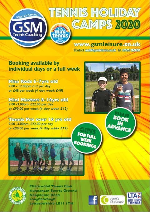 2020 Charnwood Tennis Holiday Camps
