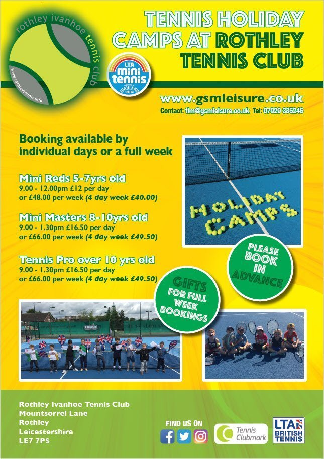 2020 Rothley Tennis Holiday Camps