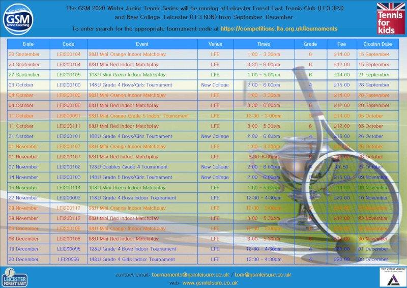 GSM Winter 2020 Junior Tournament Programme