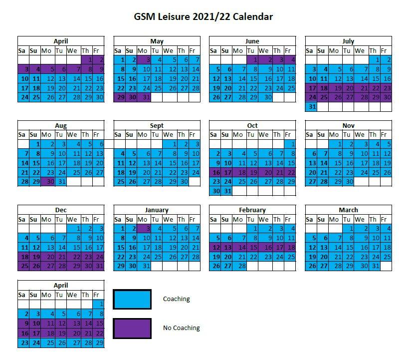GSM Coaching Calendar 2021/22