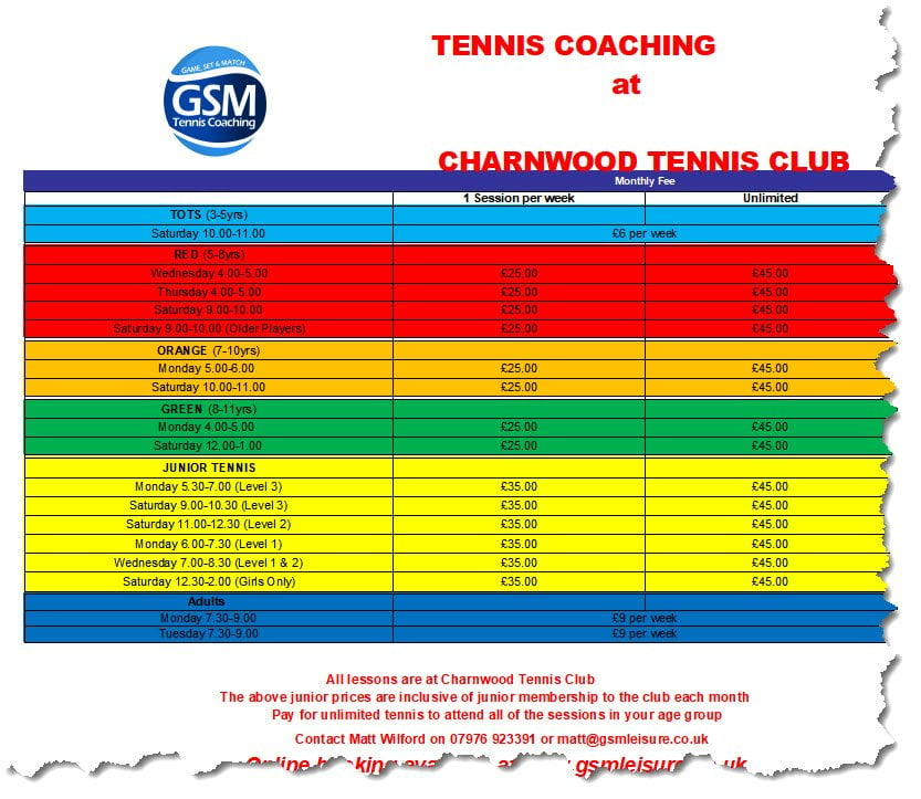 charnwood coaching timetable