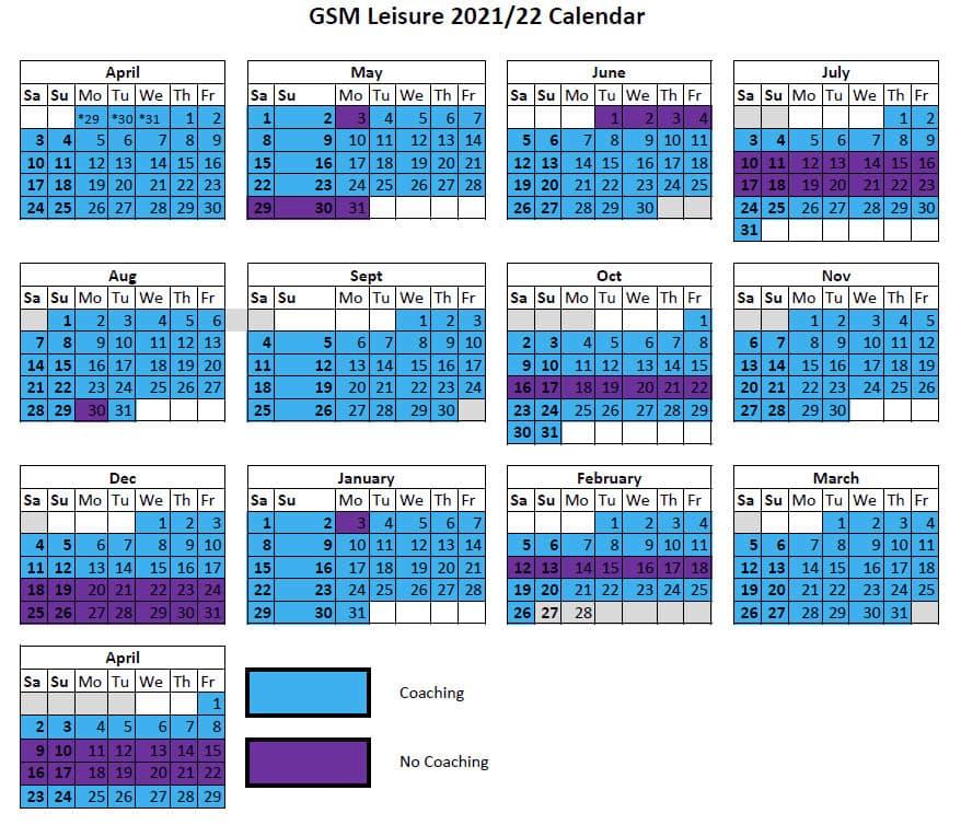 GSM Squads Calendar 2021/22