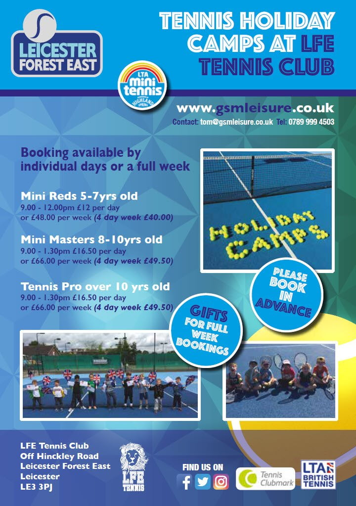 LFE Tennis Holiday Camp Flyer