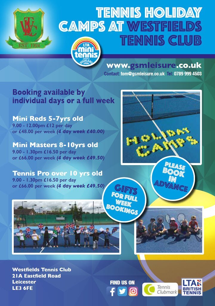 Westfields Tennis Holiday Camp Flyer