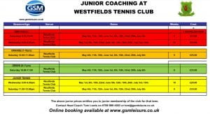 Westfields Tennis Club Junior Coaching Timetable